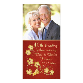 Golden leaves on vine 40th Wedding Anniversary Card