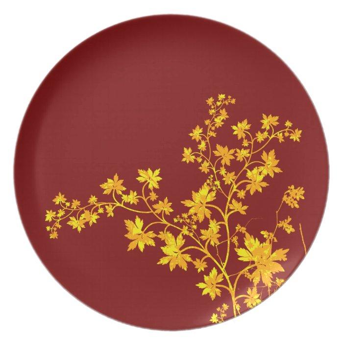 Golden Leaves Plate