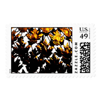 Golden leaves postage stamp