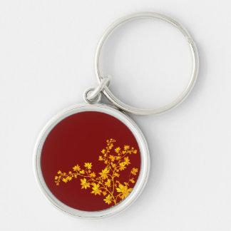 Golden Leaves Premium Round Small Keychain