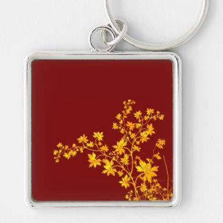 Golden Leaves Premium Square Large Keychain