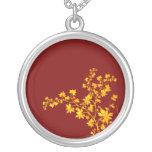 Golden Leaves Round Sterling Silver-Plated Necklac Custom Necklace
