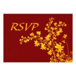 Golden Leaves RSVP Card Invite