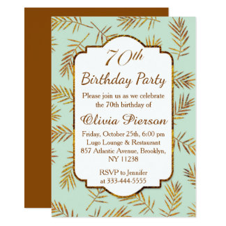 Golden leaves with foil effect 70th Birthday Party Card