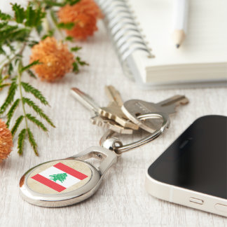 Golden Lebanon Flag Silver-Colored Oval Metal Keychain