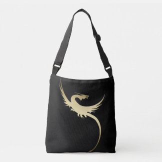 Golden Legendary Dragon with long pointed tail Crossbody Bag