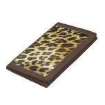 Golden Leopard Print Trifold Wallets