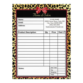 Golden Leopard Print With Red Bow Salon Order Form Letterhead