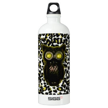 Halloween Themed Golden Leopard Spots With Owl Aluminum Water Bottle