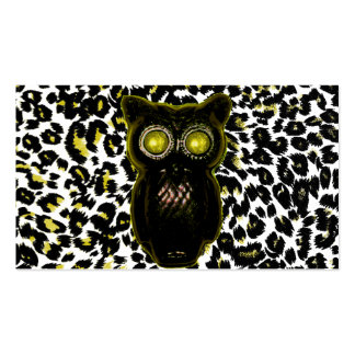 Golden Leopard Spots With Owl Business Card