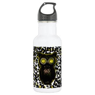 Golden Leopard Spots With Owl 18oz Water Bottle