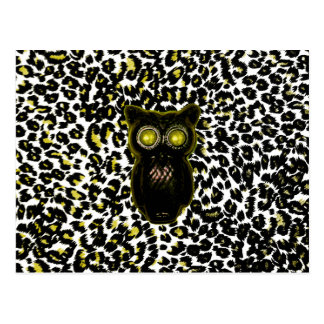 Golden Leopard Spots With Owl Postcards