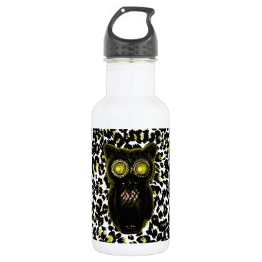Halloween Themed Golden Leopard Spots With Owl Water Bottle