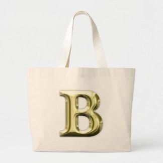 Golden Letter B Shiny Alphabet Jumbo Tote Bag