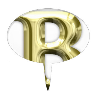 Golden Letter B Shiny Alphabet Cake Topper
