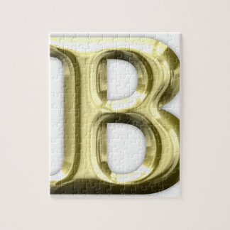 Golden Letter B Shiny Alphabet Jigsaw Puzzle