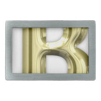 Golden Letter B Shiny Alphabet Rectangular Belt Buckle
