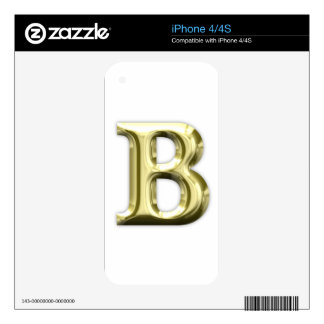 Golden Letter B Shiny Alphabet Skins For iPhone 4