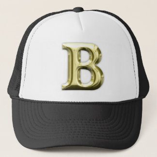 Golden Letter B Shiny Alphabet Trucker Hat