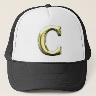 Golden Letter C Shiny Gold Alphabet Trucker Hat