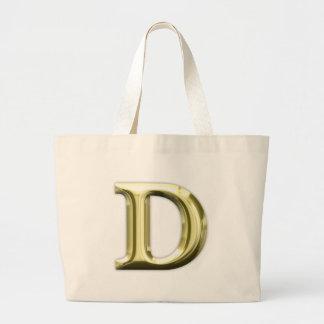 Golden Letter D Shiny Gold Alphabet Jumbo Tote Bag