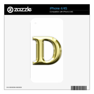 Golden Letter D Shiny Gold Alphabet Decal For The iPhone 4