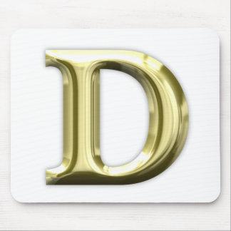 Golden Letter D Shiny Gold Alphabet Mouse Pad