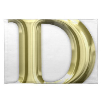 Golden Letter D Shiny Gold Alphabet Placemat