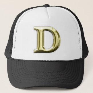 Golden Letter D Shiny Gold Alphabet Trucker Hat