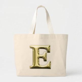 Golden Letter E Shiny Gold Alphabet Jumbo Tote Bag