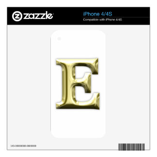 Golden Letter E Shiny Gold Alphabet iPhone 4S Decals