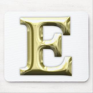 Golden Letter E Shiny Gold Alphabet Mouse Pad
