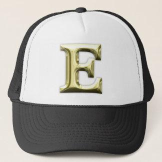 Golden Letter E Shiny Gold Alphabet Trucker Hat