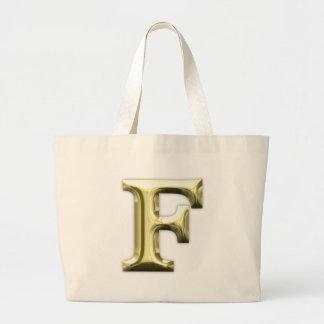 Golden Letter F Shiny Gold Alphabet Jumbo Tote Bag