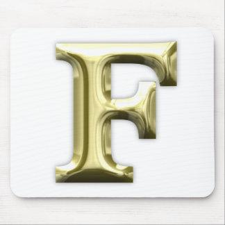 Golden Letter F Shiny Gold Alphabet Mouse Pad