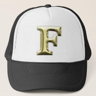 Golden Letter F Shiny Gold Alphabet Trucker Hat