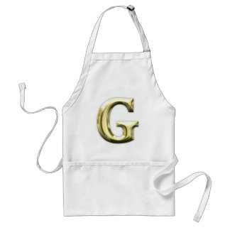Golden Letter G Shiny Gold Alphabet Adult Apron