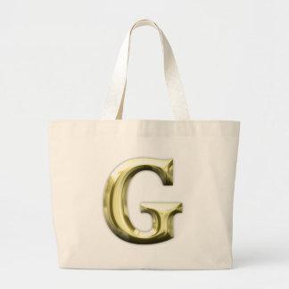 Golden Letter G Shiny Gold Alphabet Jumbo Tote Bag