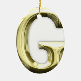 Golden Letter G Shiny Gold Alphabet Ceramic Ornament