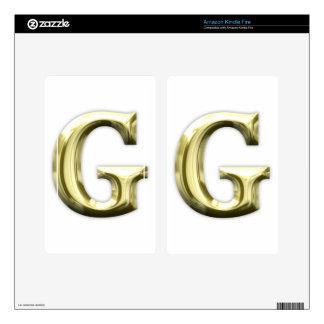 Golden Letter G Shiny Gold Alphabet Kindle Fire Skins