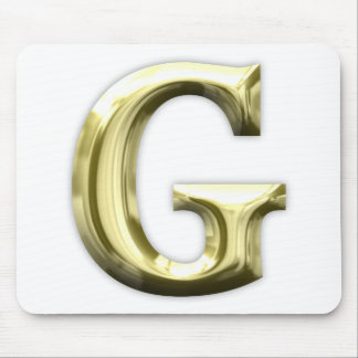 Golden Letter G Shiny Gold Alphabet Mouse Pad