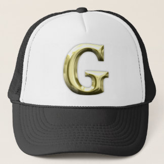 Golden Letter G Shiny Gold Alphabet Trucker Hat