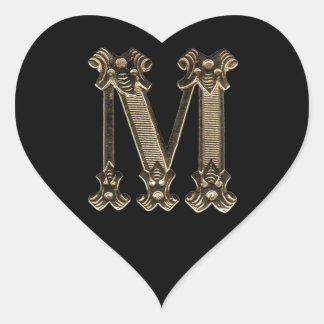 Golden Letter M Initial Photo on Black Background Heart Sticker