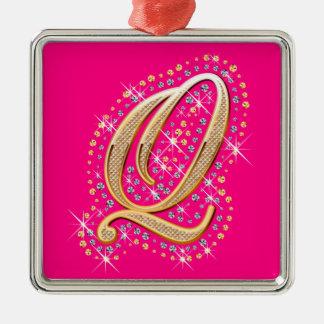 Golden Letter Q - Ornament