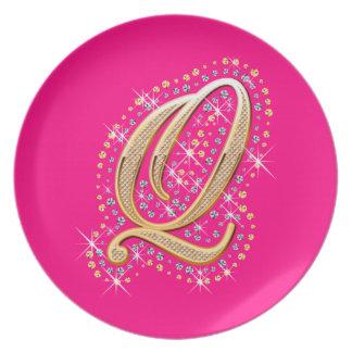 Golden Letter Q - Plate