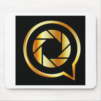 Golden letter Q with photography shutter Mouse Pad