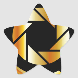 Golden letter Q with photography shutter Star Sticker