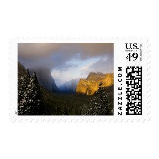 Golden light paints Yosemite Valley's Bridalveil Postage