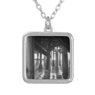 Golden Light Shines Through Grayscale Silver Plated Necklace
