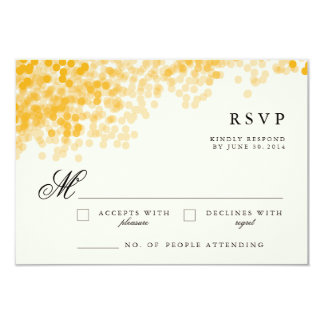 "Golden Light Shower | Pretty RSVP Response Cards 3.5"" X 5"" Invitation Card"